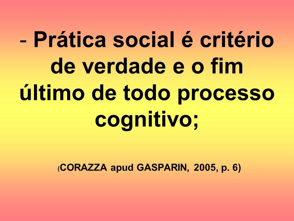 Prática social é critério de verdade e o fim último de todo processo cognitivo; (CORAZZA apud GASPARIN, 2005, p.