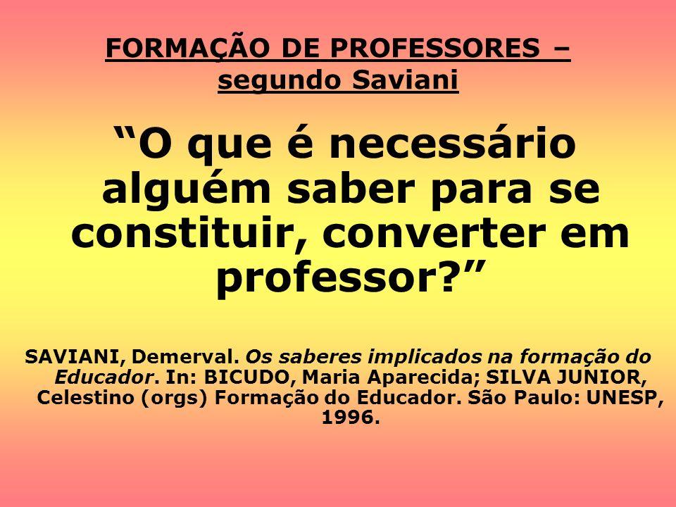 FORMAÇÃO DE PROFESSORES – segundo Saviani