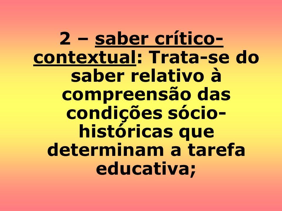 2 – saber crítico-contextual: Trata-se do saber relativo à compreensão das condições sócio-históricas que determinam a tarefa educativa;