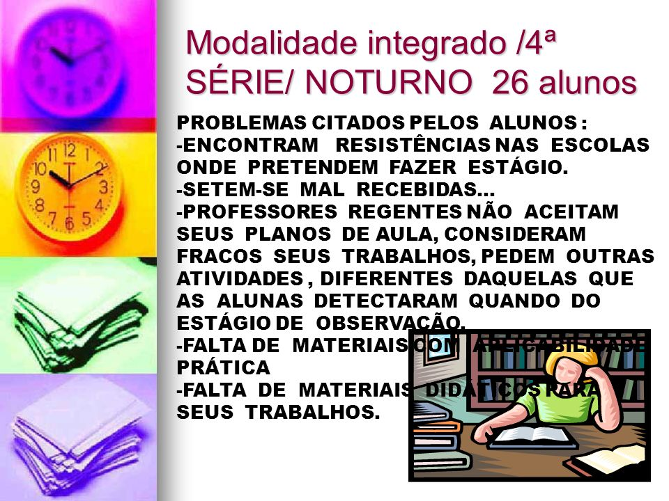 Modalidade integrado /4ª SÉRIE/ NOTURNO 26 alunos