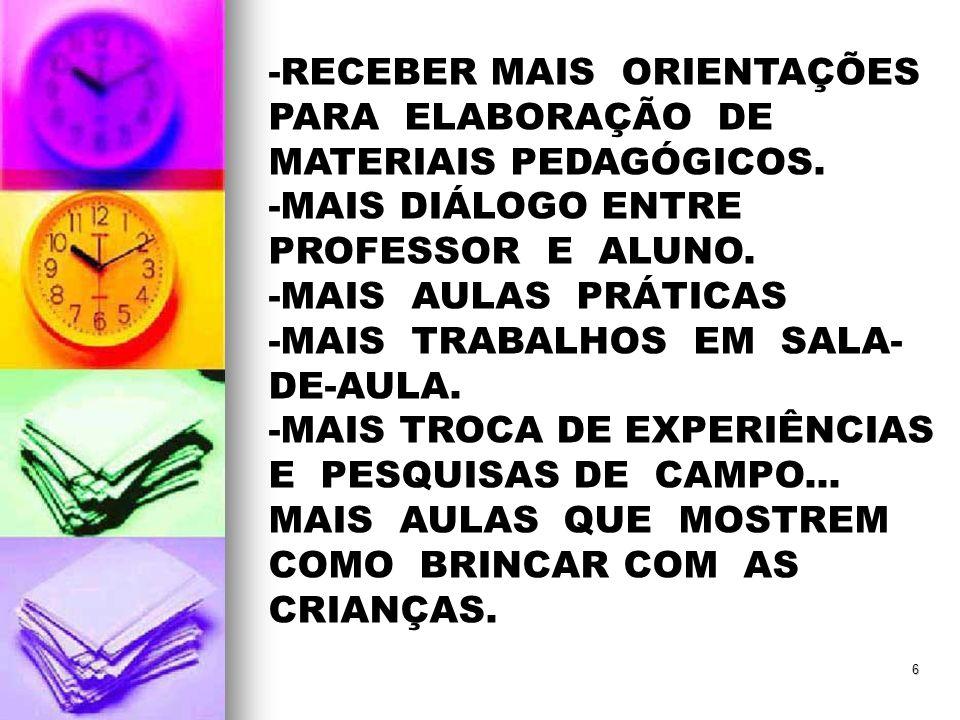 -RECEBER MAIS ORIENTAÇÕES PARA ELABORAÇÃO DE MATERIAIS PEDAGÓGICOS.