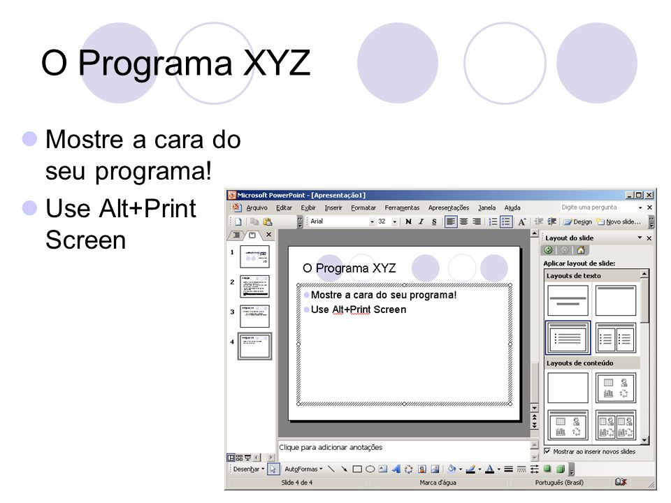 O Programa XYZ Mostre a cara do seu programa! Use Alt+Print Screen