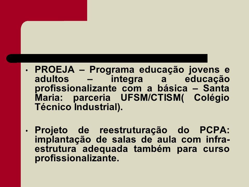 PROEJA – Programa educação jovens e adultos – integra a educação profissionalizante com a básica – Santa Maria: parceria UFSM/CTISM( Colégio Técnico Industrial).