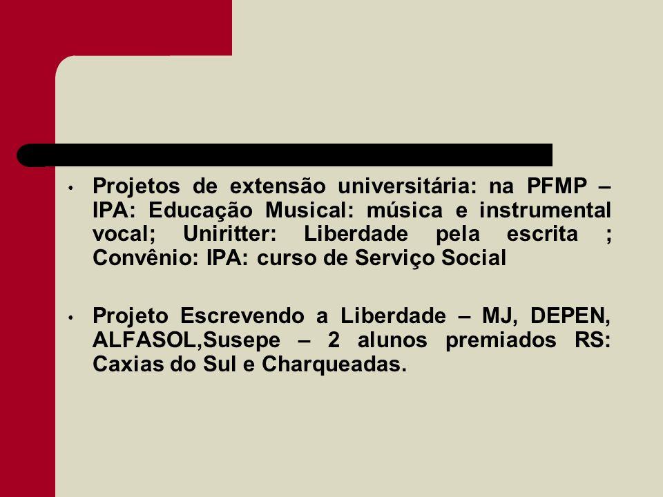 Projetos de extensão universitária: na PFMP – IPA: Educação Musical: música e instrumental vocal; Uniritter: Liberdade pela escrita ; Convênio: IPA: curso de Serviço Social