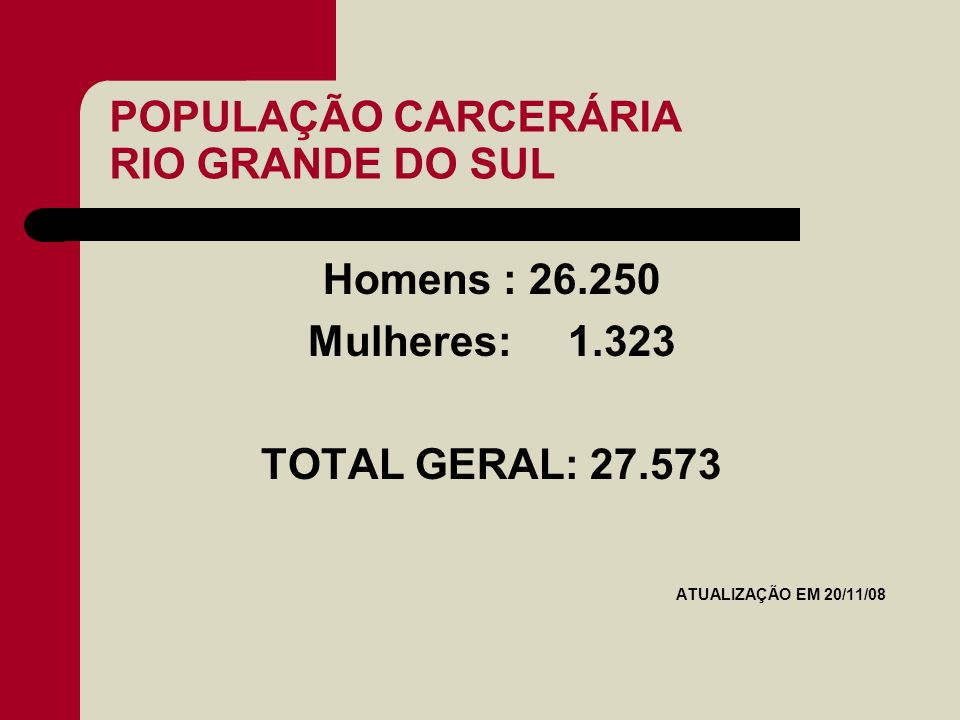 POPULAÇÃO CARCERÁRIA RIO GRANDE DO SUL