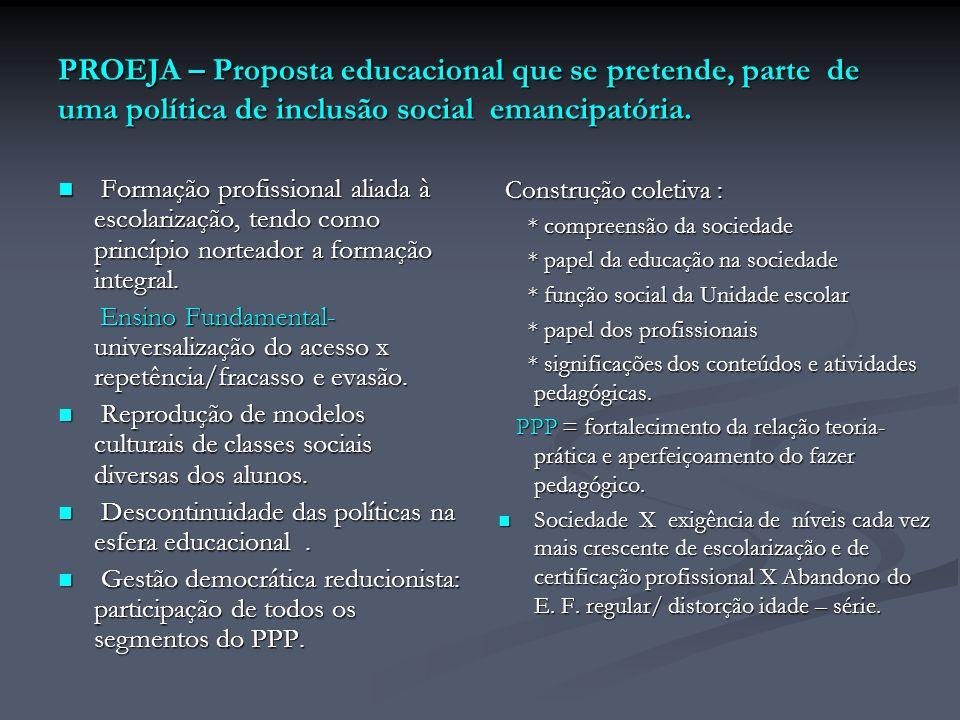 PROEJA – Proposta educacional que se pretende, parte de uma política de inclusão social emancipatória.