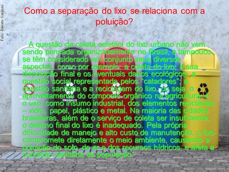 Como a separação do lixo se relaciona com a poluição