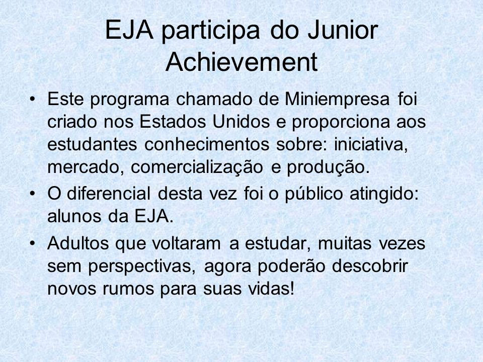 EJA participa do Junior Achievement