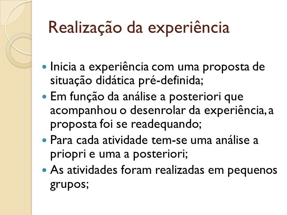 Realização da experiência