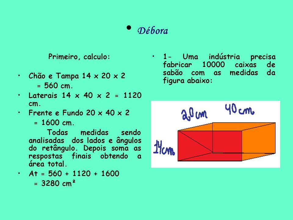 Débora Primeiro, calculo: Chão e Tampa 14 x 20 x 2 = 560 cm.