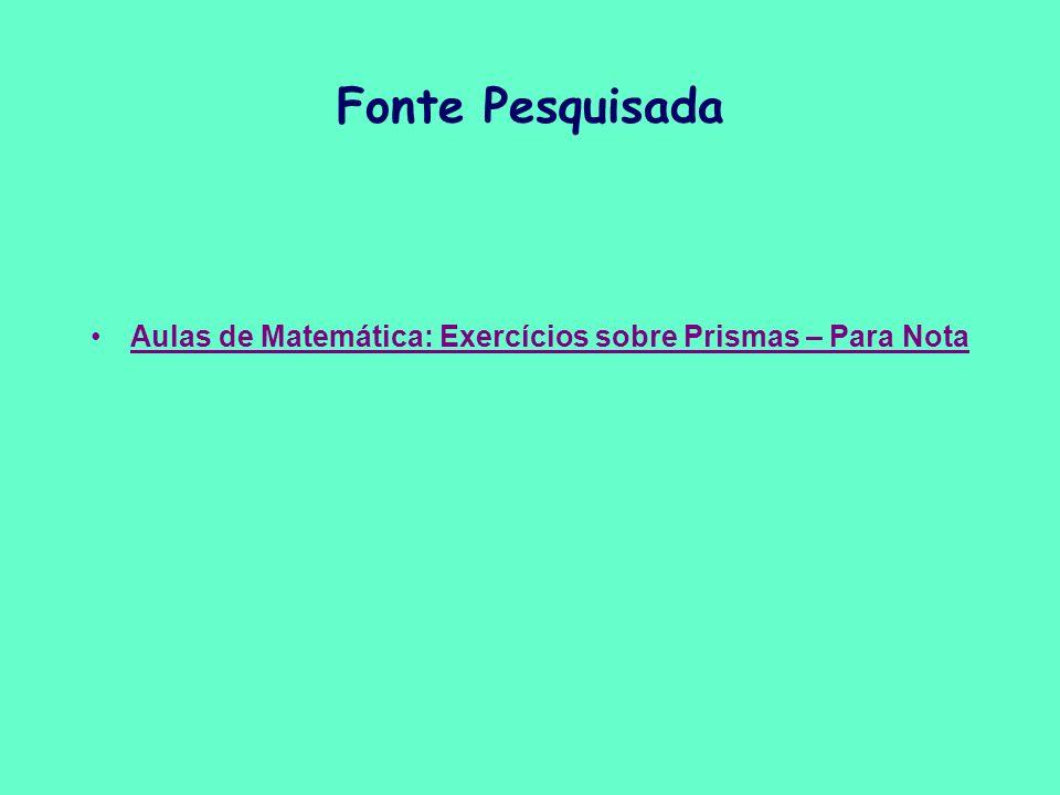 Aulas de Matemática: Exercícios sobre Prismas – Para Nota