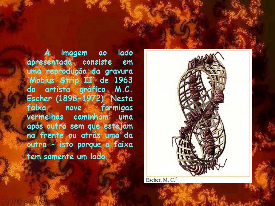 A imagem ao lado apresentada consiste em uma reprodução da gravura ´Mobius Strip II´ de 1963 do artista gráfico M.C.