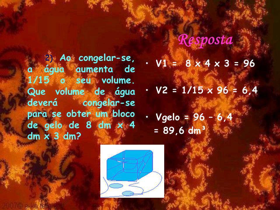 Resposta V1 = 8 x 4 x 3 = 96 V2 = 1/15 x 96 = 6,4 Vgelo = 96 – 6,4