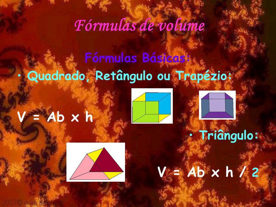 Fórmulas de volume V = Ab x h V = Ab x h / 2 Fórmulas Básicas: