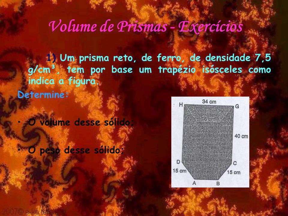 Volume de Prismas - Exercícios