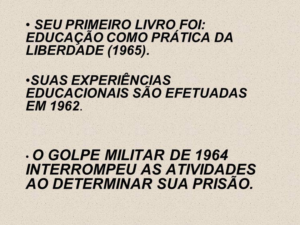 SEU PRIMEIRO LIVRO FOI: EDUCAÇÃO COMO PRÁTICA DA LIBERDADE (1965).
