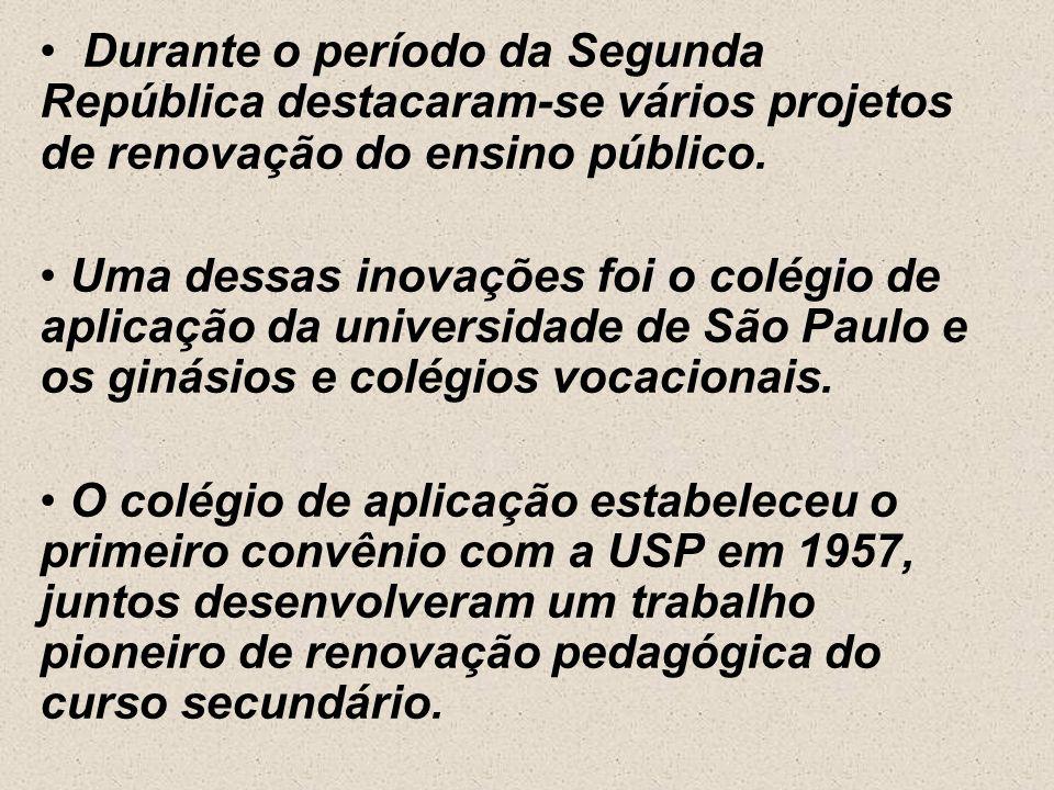 Durante o período da Segunda República destacaram-se vários projetos de renovação do ensino público.