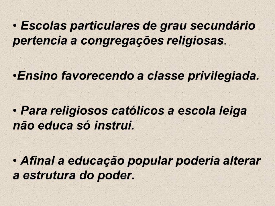 Escolas particulares de grau secundário pertencia a congregações religiosas.