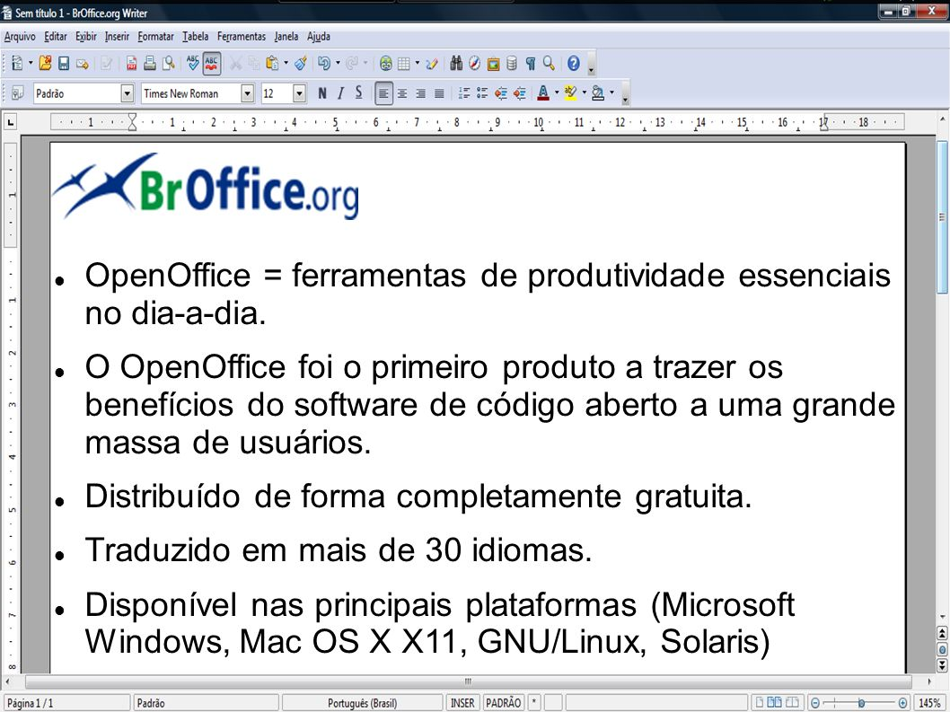 OpenOffice = ferramentas de produtividade essenciais no dia-a-dia.