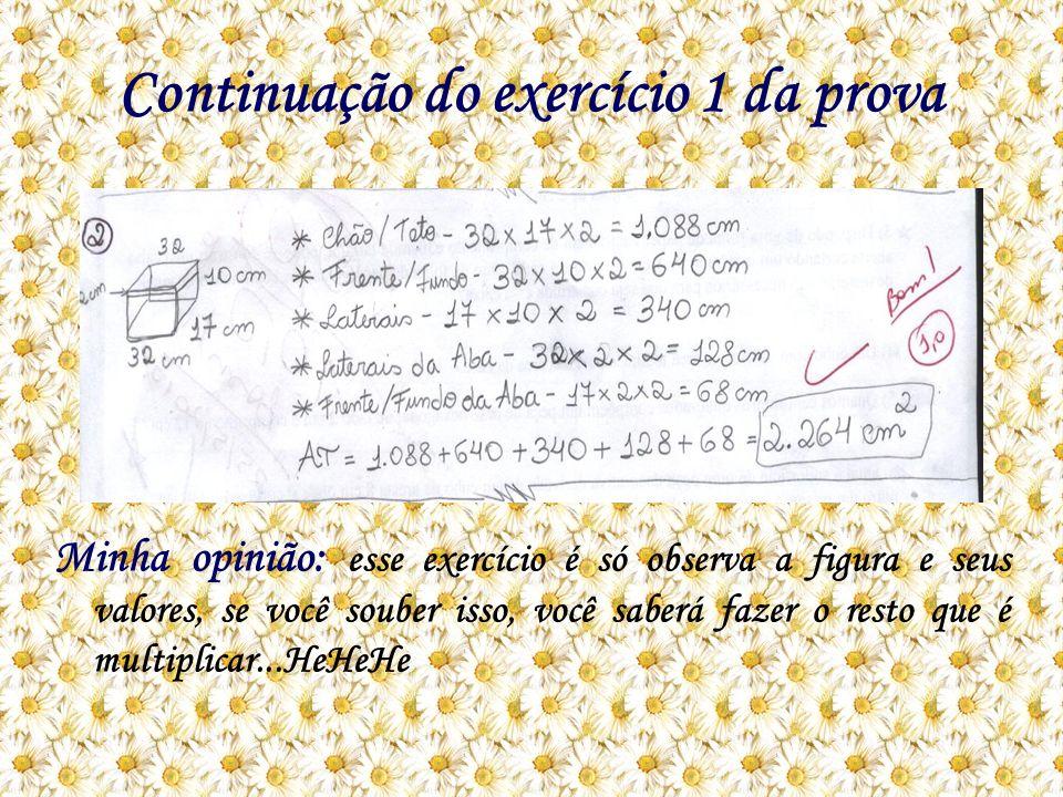 Continuação do exercício 1 da prova