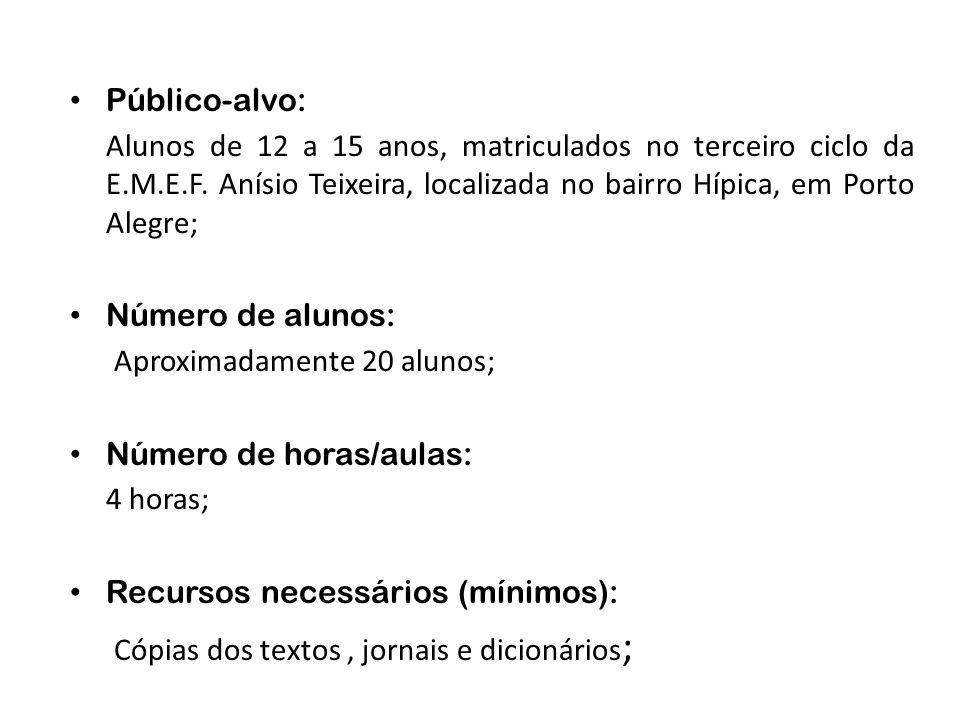 Público-alvo:Alunos de 12 a 15 anos, matriculados no terceiro ciclo da E.M.E.F. Anísio Teixeira, localizada no bairro Hípica, em Porto Alegre;