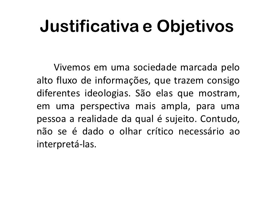 Justificativa e Objetivos