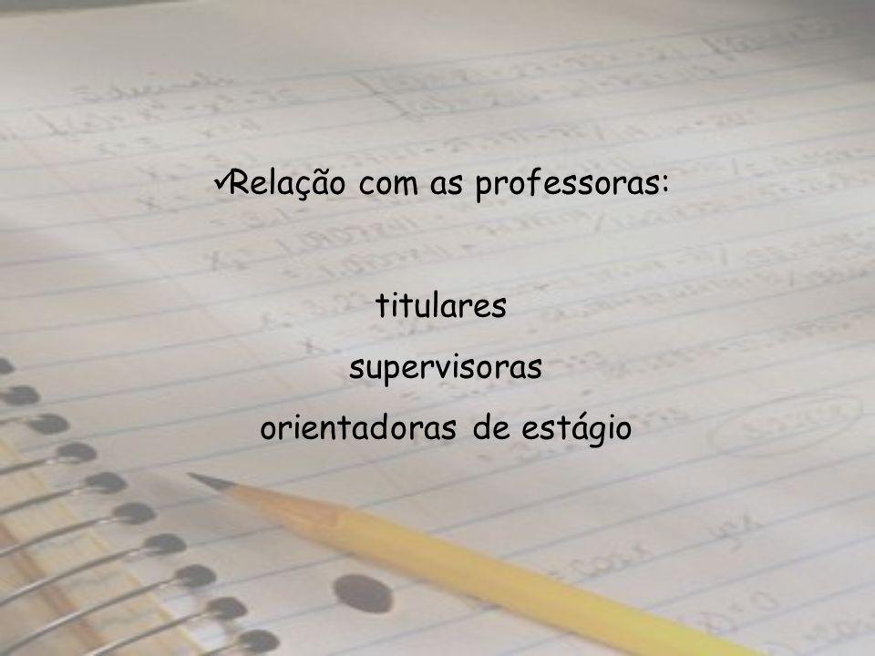 Relação com as professoras: