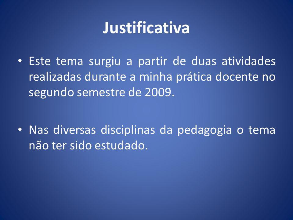 Justificativa Este tema surgiu a partir de duas atividades realizadas durante a minha prática docente no segundo semestre de 2009.