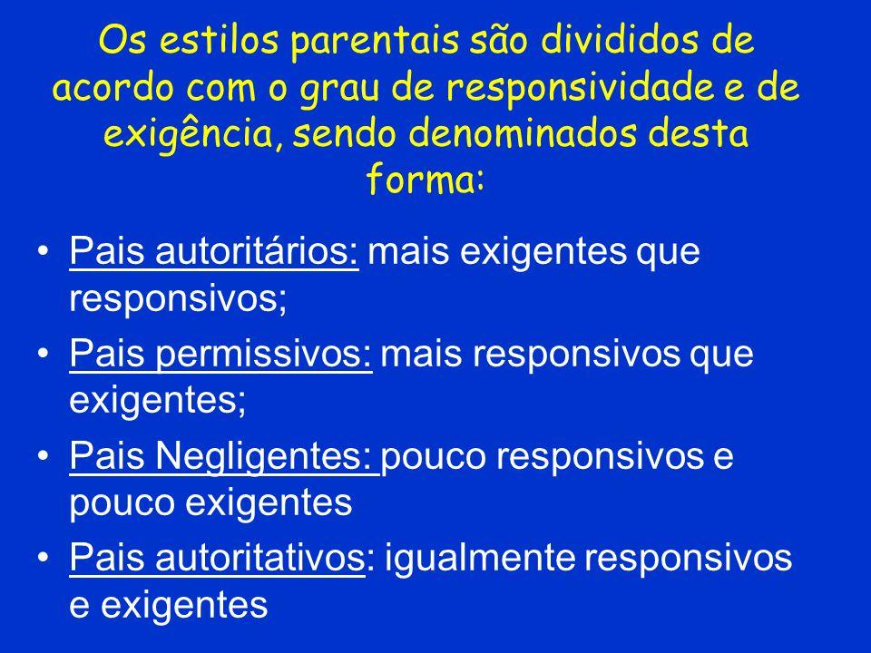 Os estilos parentais são divididos de acordo com o grau de responsividade e de exigência, sendo denominados desta forma: