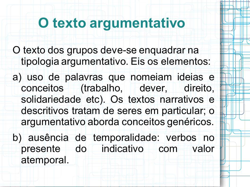 O texto argumentativo O texto dos grupos deve-se enquadrar na tipologia argumentativo. Eis os elementos: