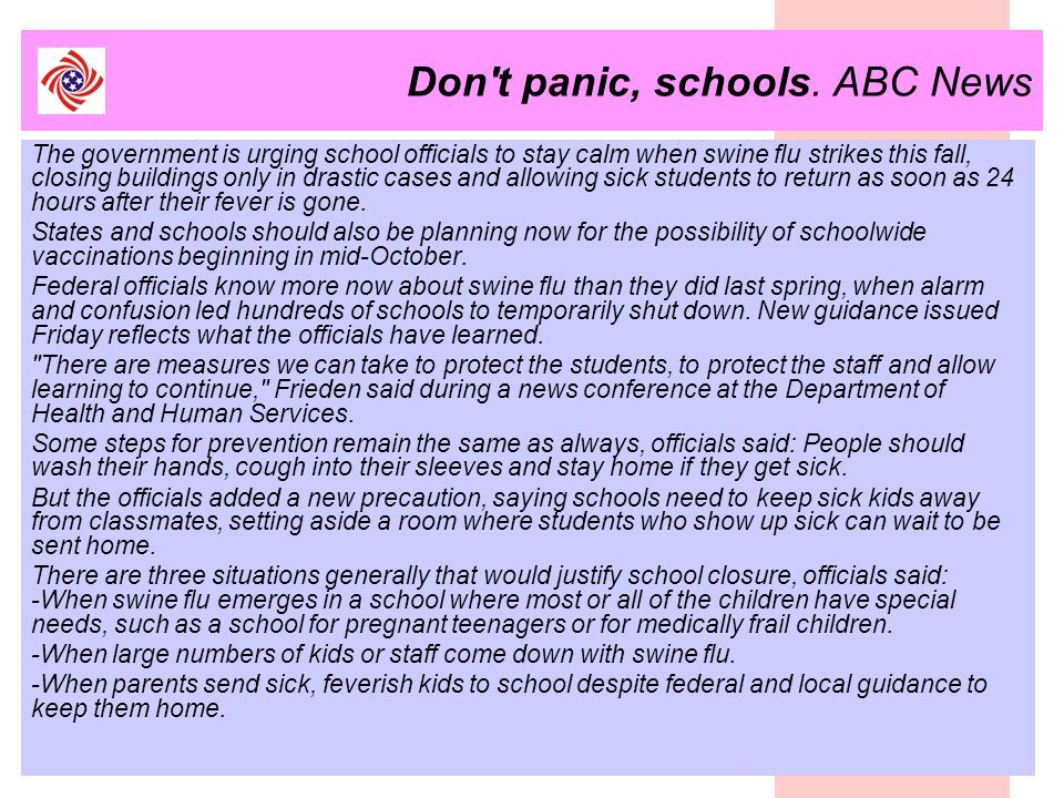 Don t panic, schools. ABC News