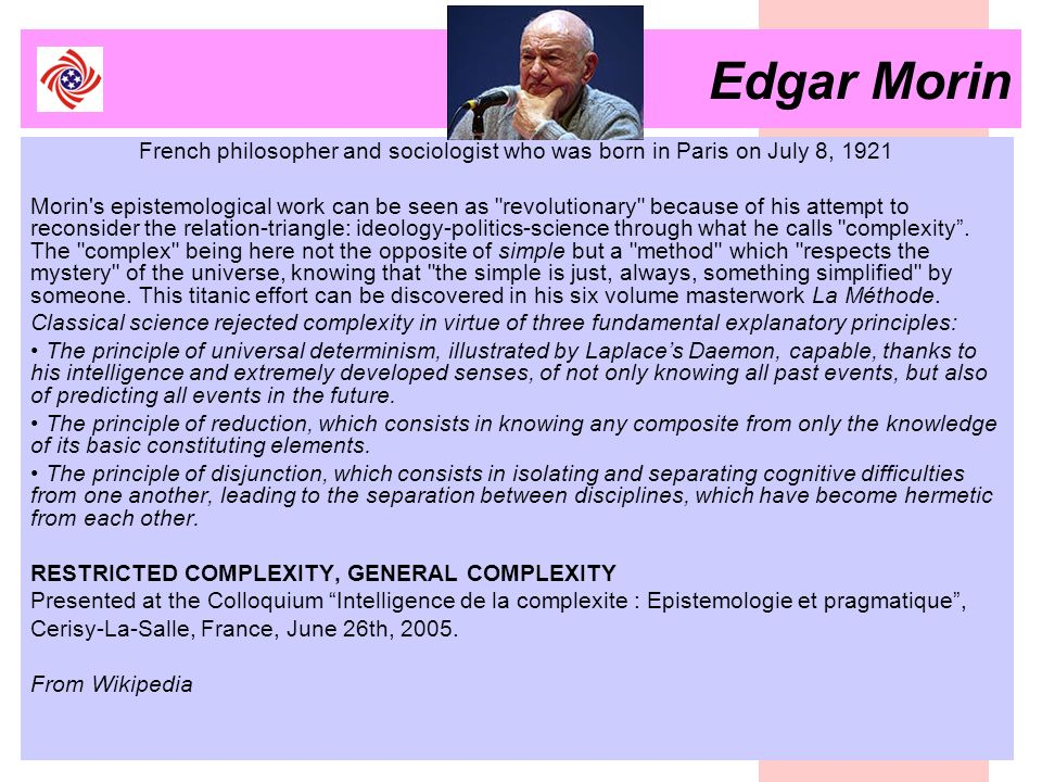 Edgar MorinFrench philosopher and sociologist who was born in Paris on July 8, 1921.