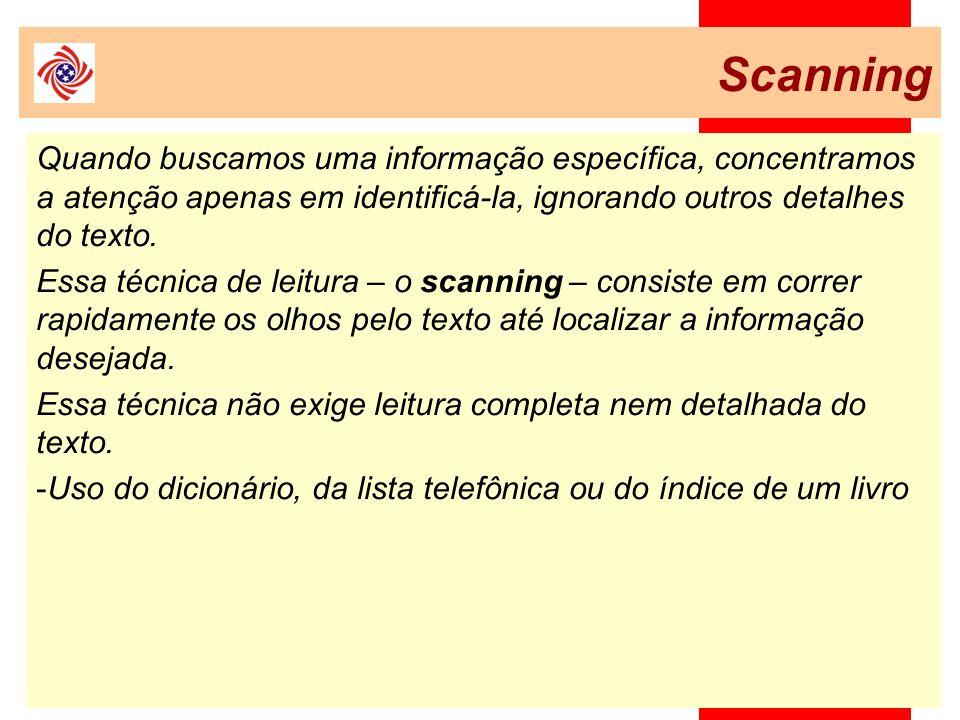 Scanning Quando buscamos uma informação específica, concentramos a atenção apenas em identificá-la, ignorando outros detalhes do texto.