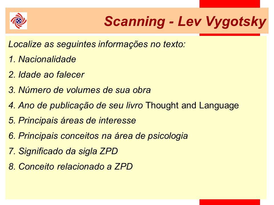 Scanning - Lev Vygotsky