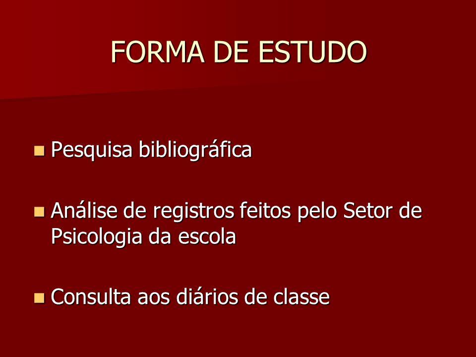 FORMA DE ESTUDO Pesquisa bibliográfica