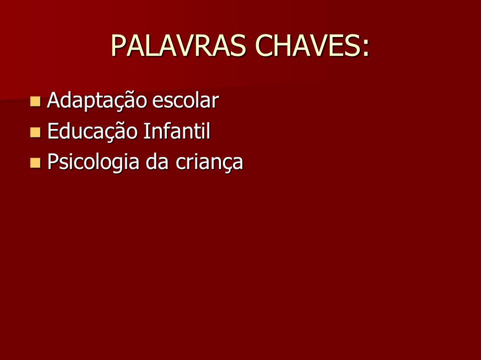 PALAVRAS CHAVES: Adaptação escolar Educação Infantil