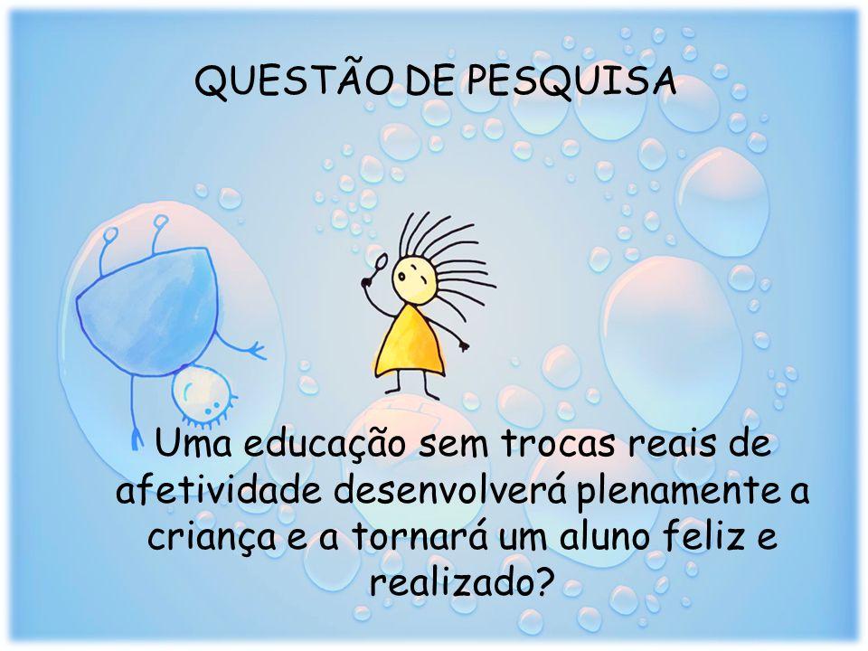 QUESTÃO DE PESQUISA Uma educação sem trocas reais de afetividade desenvolverá plenamente a criança e a tornará um aluno feliz e realizado