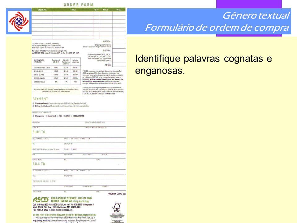 Gênero textual Formulário de ordem de compra