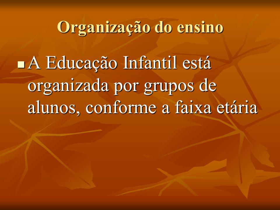 Organização do ensino A Educação Infantil está organizada por grupos de alunos, conforme a faixa etária.