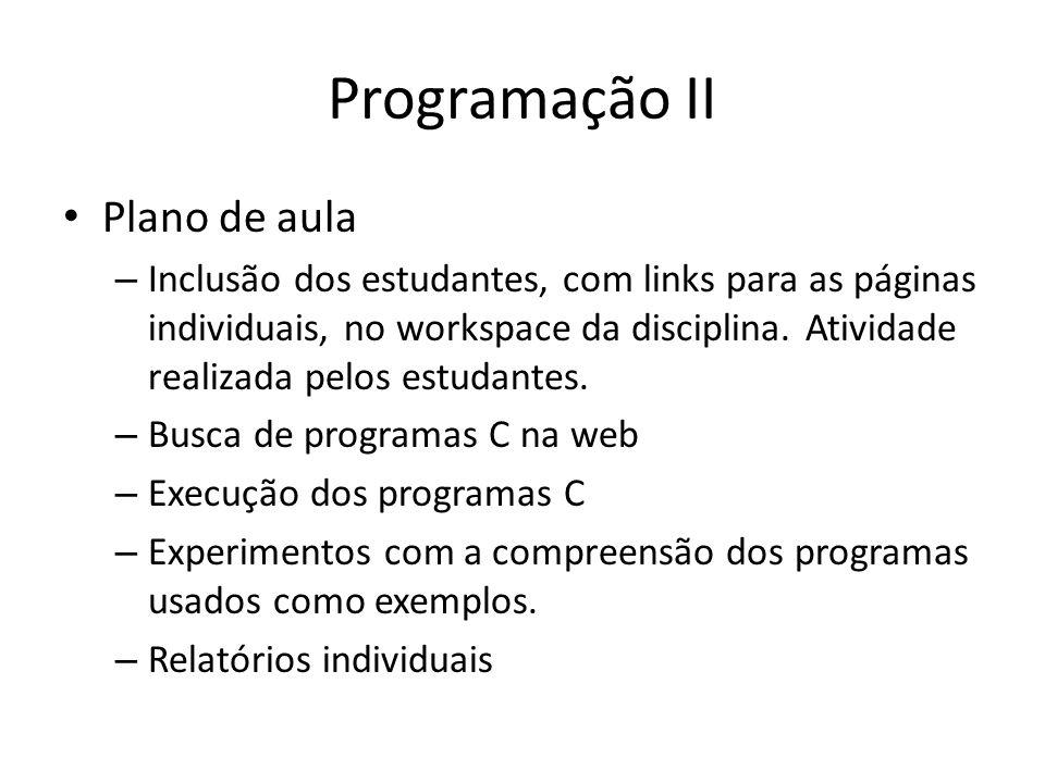 Programação II Plano de aula