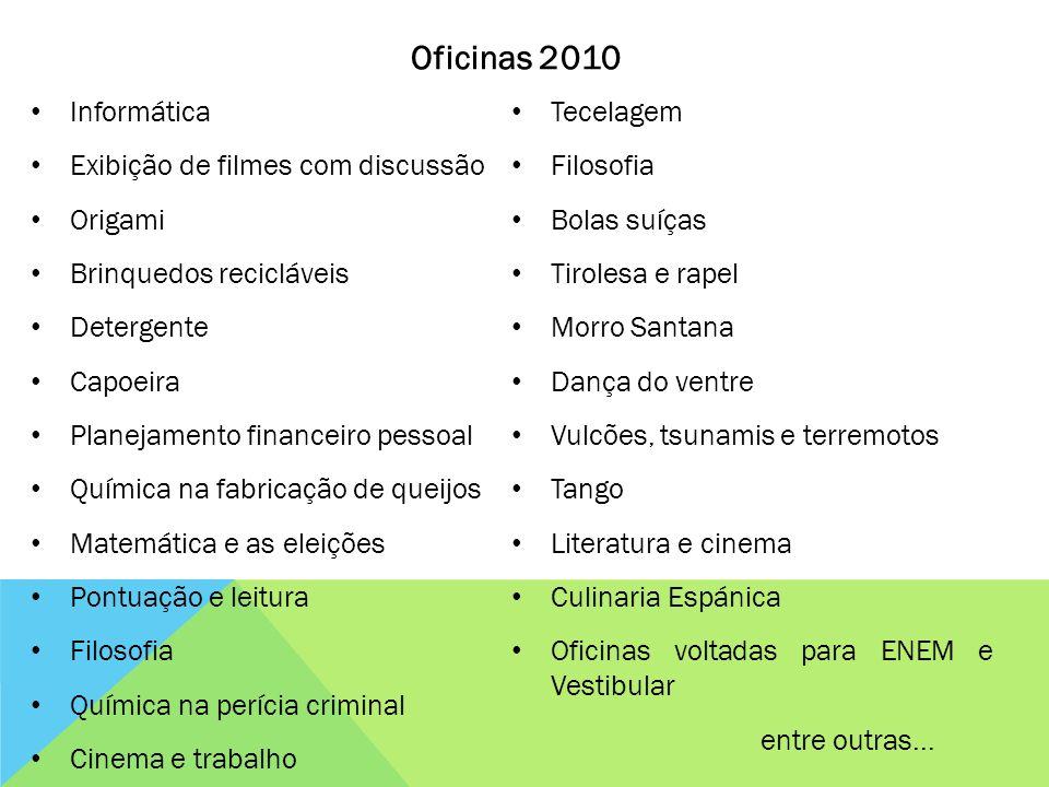 Oficinas 2010 Informática Tecelagem Exibição de filmes com discussão