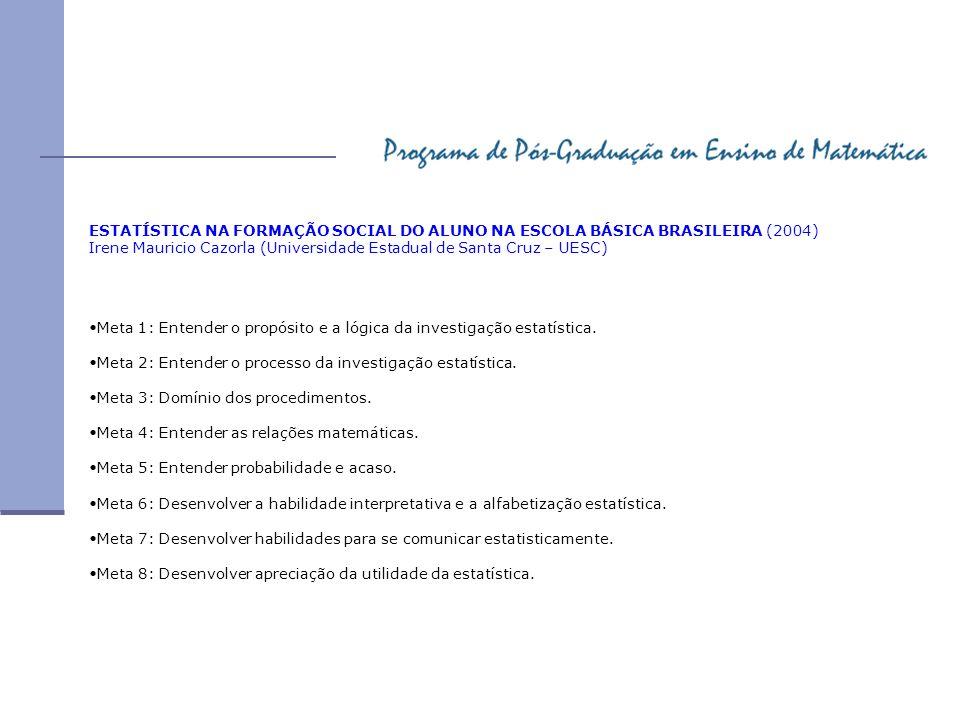 ESTATÍSTICA NA FORMAÇÃO SOCIAL DO ALUNO NA ESCOLA BÁSICA BRASILEIRA (2004)