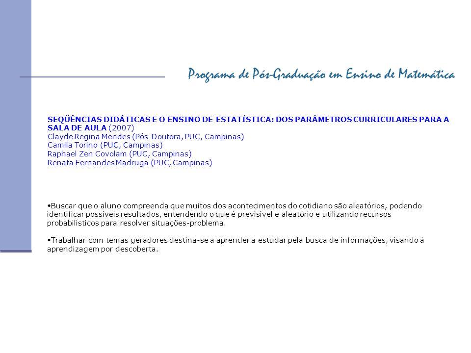 SEQÜÊNCIAS DIDÁTICAS E O ENSINO DE ESTATÍSTICA: DOS PARÂMETROS CURRICULARES PARA A SALA DE AULA (2007)