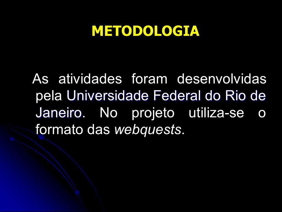 METODOLOGIA As atividades foram desenvolvidas pela Universidade Federal do Rio de Janeiro.