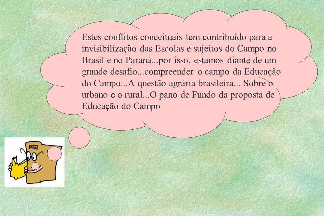 Estes conflitos conceituais tem contribuído para a invisibilização das Escolas e sujeitos do Campo no Brasil e no Paraná...por isso, estamos diante de um grande desafio...compreender o campo da Educação do Campo...A questão agrária brasileira...