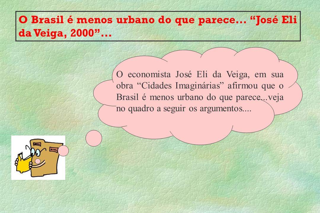 O Brasil é menos urbano do que parece... José Eli da Veiga, 2000 ...
