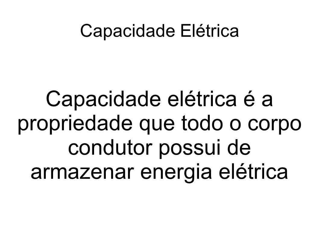 Capacidade Elétrica Capacidade elétrica é a propriedade que todo o corpo condutor possui de armazenar energia elétrica.