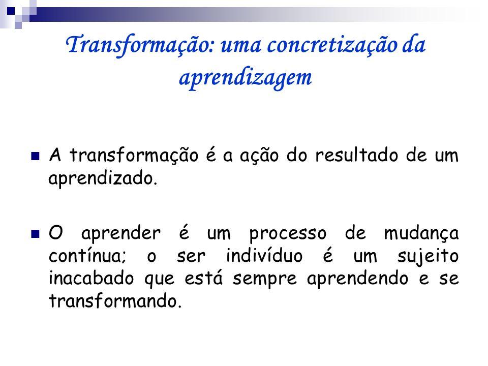 Transformação: uma concretização da aprendizagem