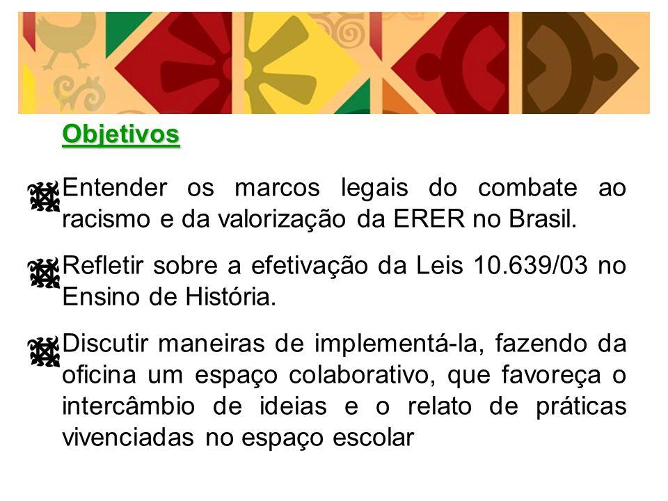 Refletir sobre a efetivação da Leis 10.639/03 no Ensino de História.