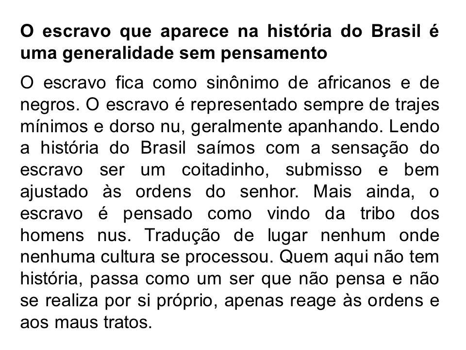 O escravo que aparece na história do Brasil é uma generalidade sem pensamento